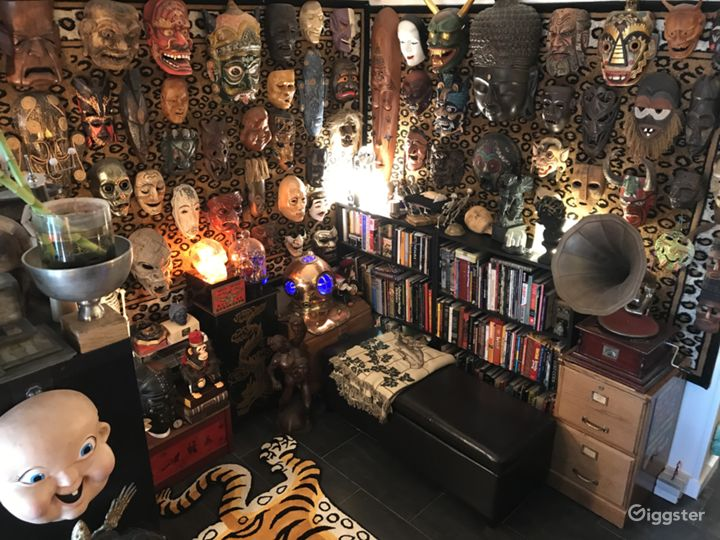 An assortment of masks and oddities