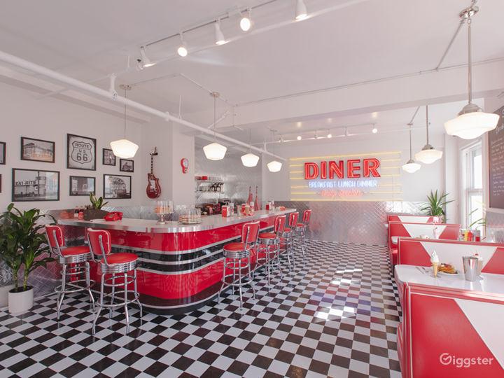 DTLA Sun Drenched 50s Retro Diner Restaurant Cafe