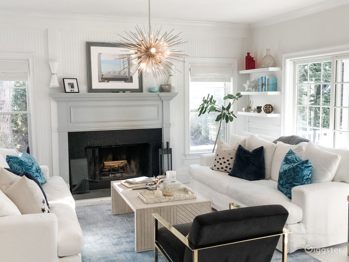 Living space with wood burning fireplace