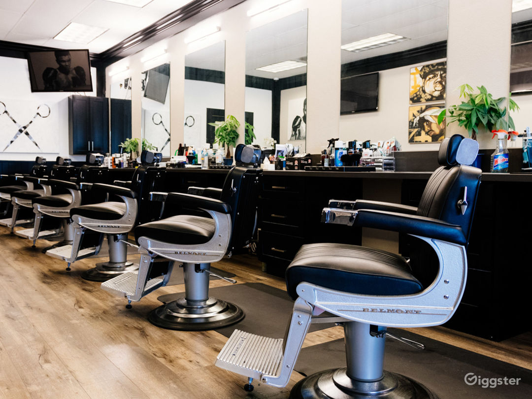 Modern yet retro setting with all new barber chairs and furniture