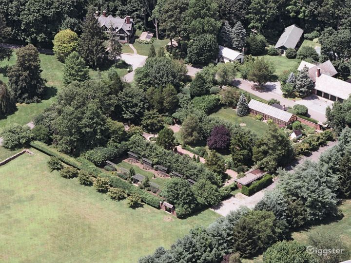 Aerial focused on the gardens.