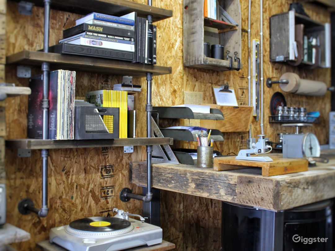 Carefully curated mid century industrial fixtures and small tools.
