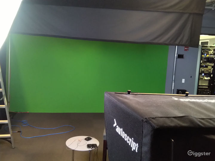 green screen with camera and teleprompter.
