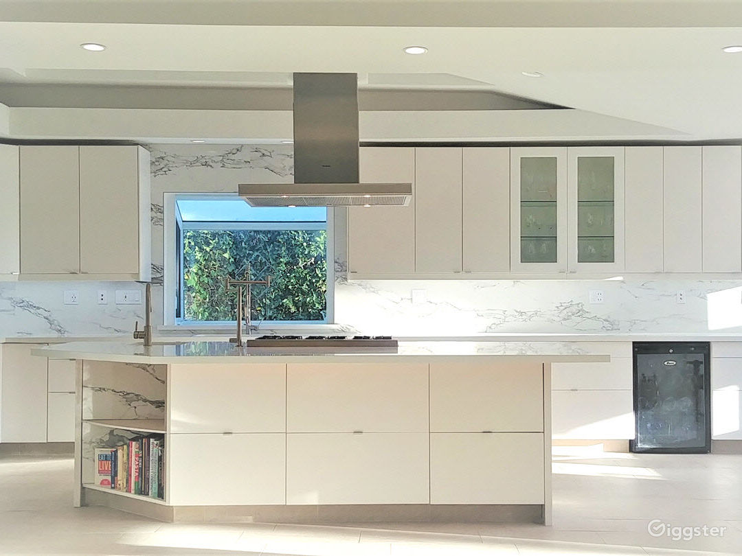 Modern, bright-home chef's kitchen with jumbo-size cooking island with integrated Viking stove and Subzero appliances. Unique elevation of home delivers wide-range light spectrum [from fantastic golden hour PM contrast to neutral density AM morning light].