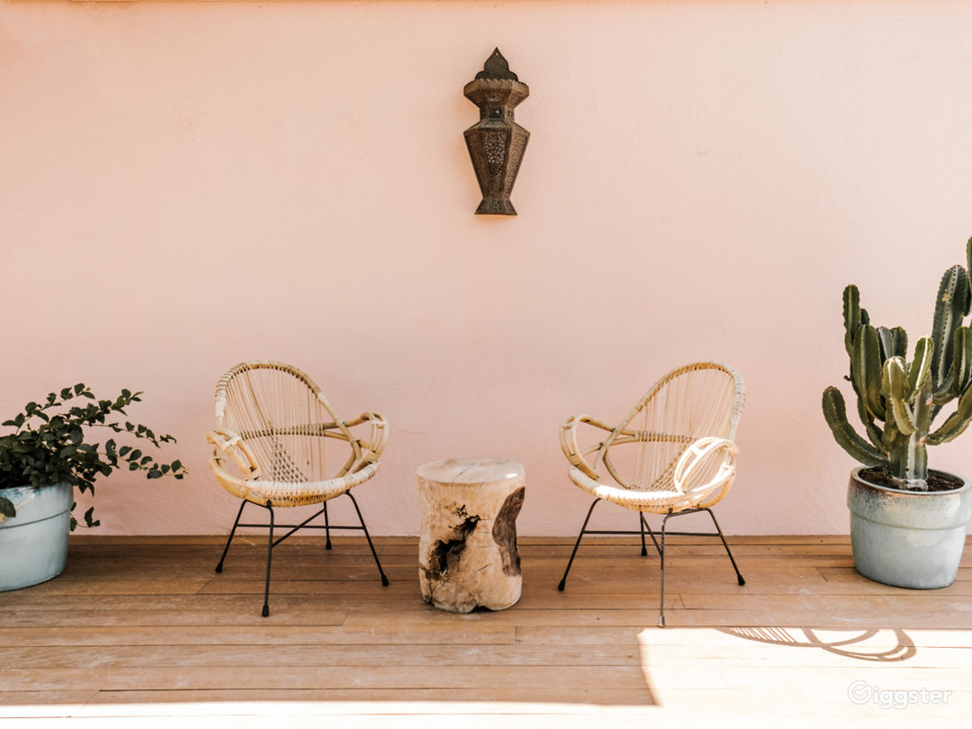 Mid-Century Moroccan-Style Pink Palm Springs House Photo 1