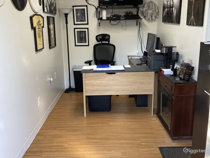 Office with a desktop computer for any on site needs.