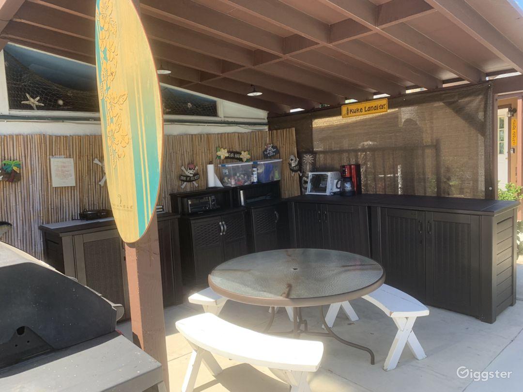 Our Tiki Village outdoor kitchen area
