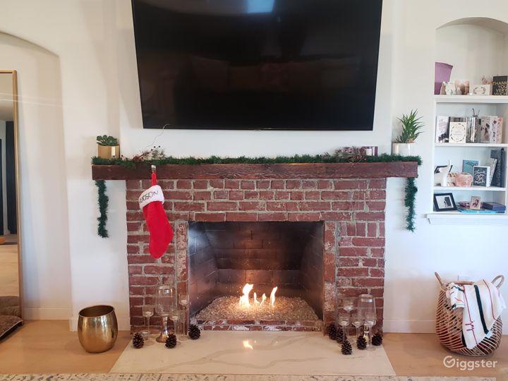 Gas burning fireplace.