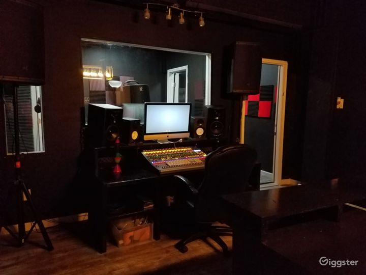 Recording Room A.  Complete with 3 booths for dual recording capabilities.