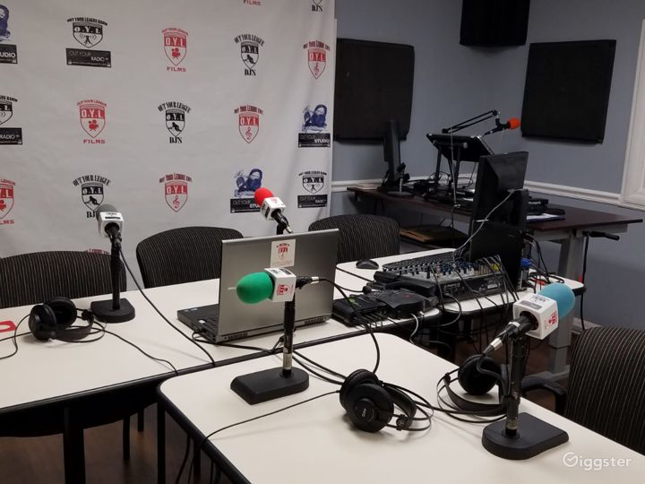 Internet Radio/Podcast Suite, complete with cameras and broadcasting software and equipment.
