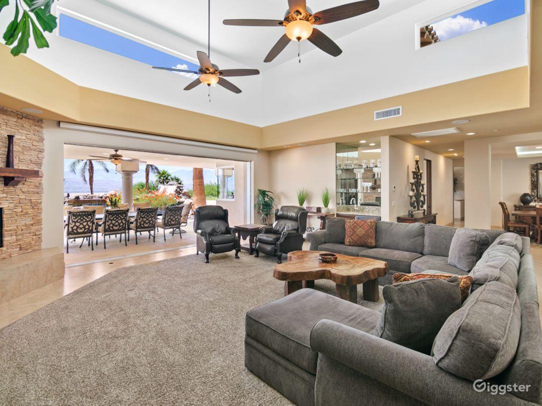 Fire place,living rooms, open sliding doors.