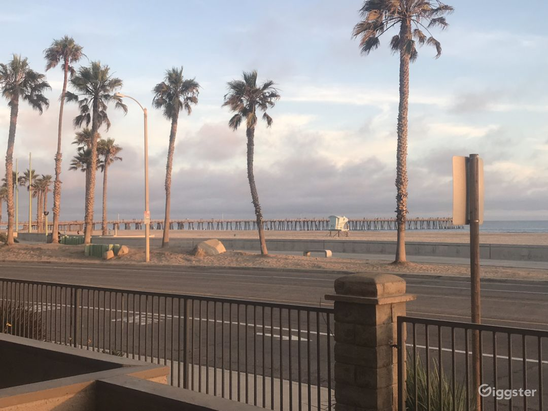 View to the left of the pier. The beach is directly across the street.