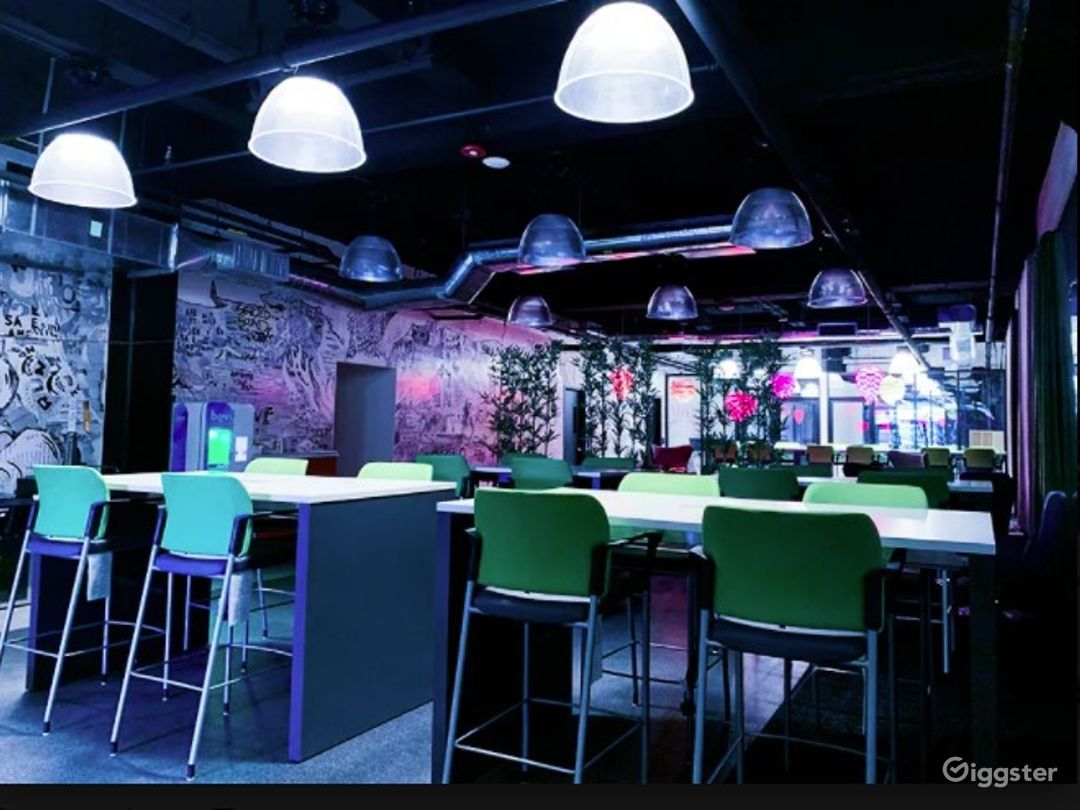 Creative Event Space with Vibrant Lighting Photo 1
