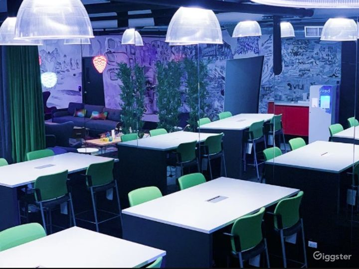 Creative Event Space with Vibrant Lighting Photo 4