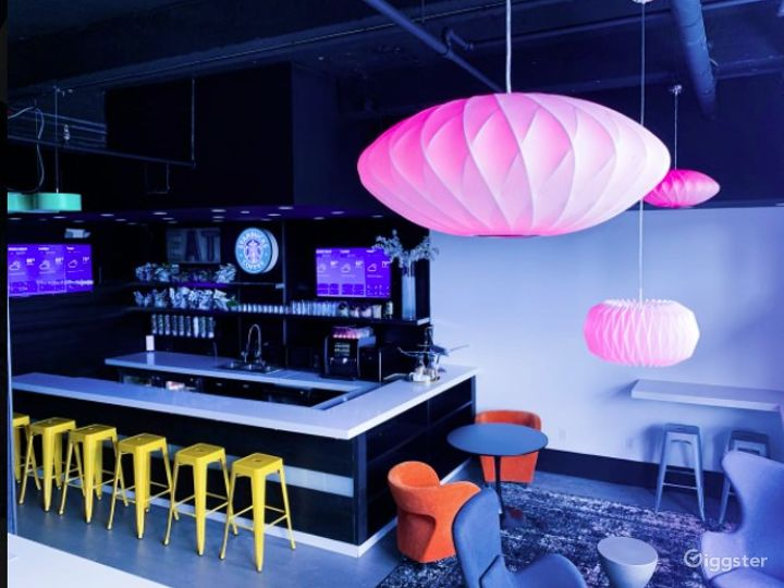 Creative Event Space with Vibrant Lighting Photo 2