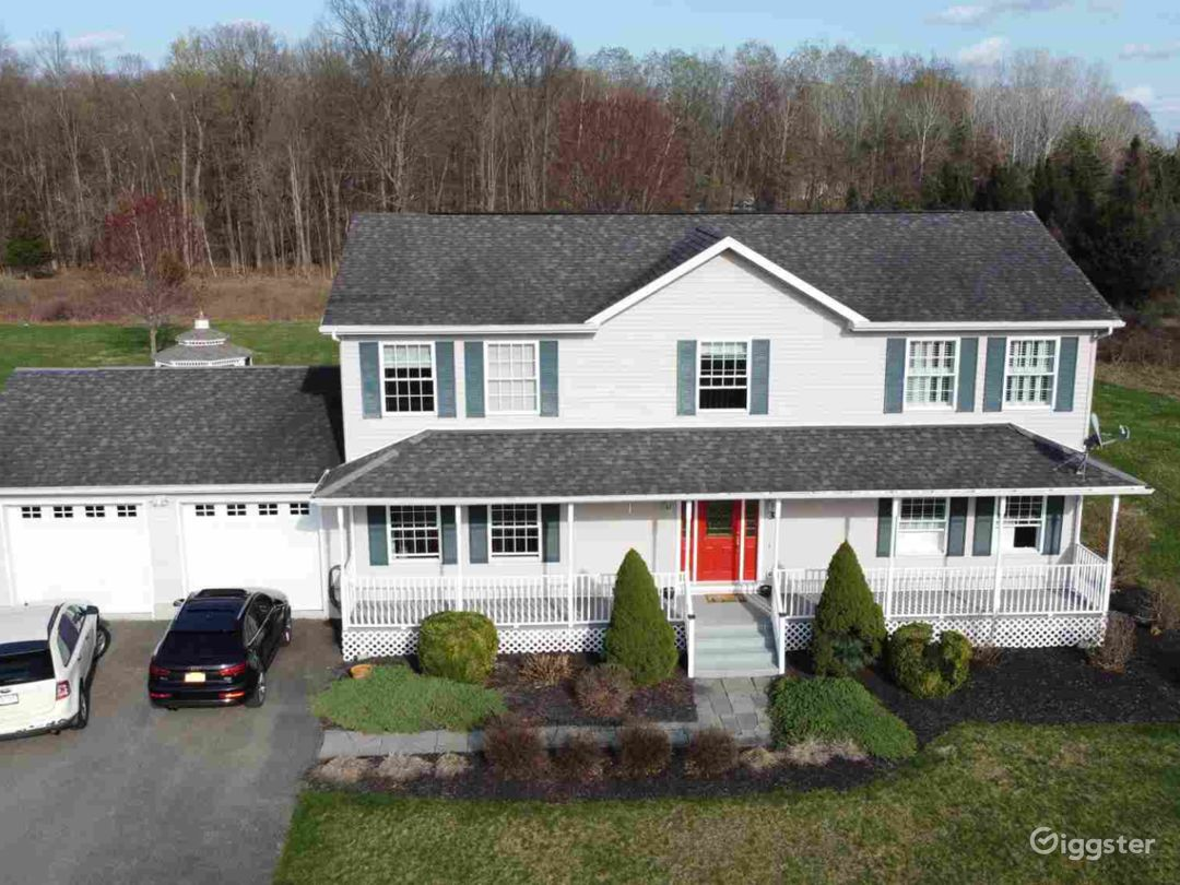 Drone shot of front of house