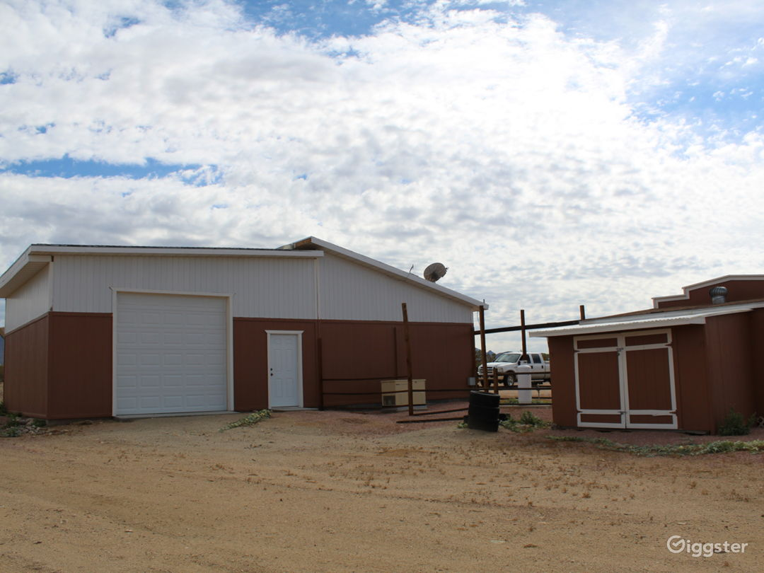 RV size garage with facing double doors that can be used for controlled lighting or staging crew.