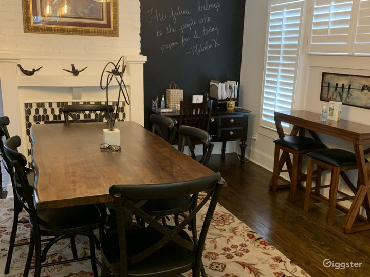 Eat in kitchen area with chalkboard wall.