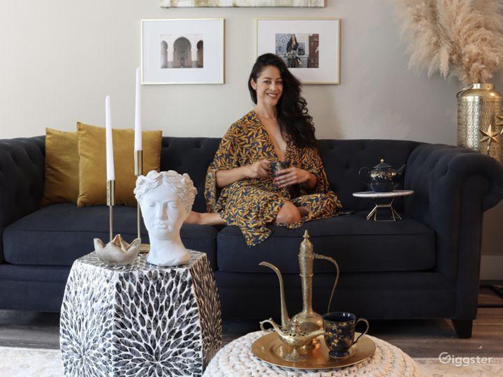 Modern Moroccan Living Room w/ Marble Island Photo 4