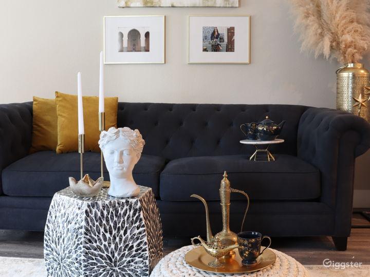 Modern Moroccan Living Room w/ Marble Island Photo 3
