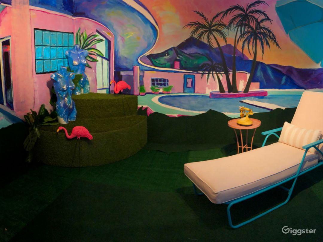 Psychedelic Purple Photo Studio w/ Poolside Mural Photo 1