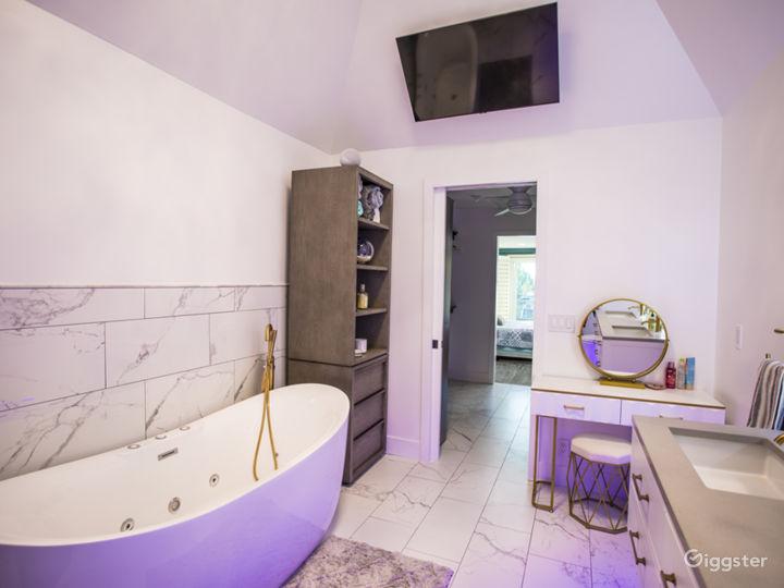 Elegant powder room and master bath.