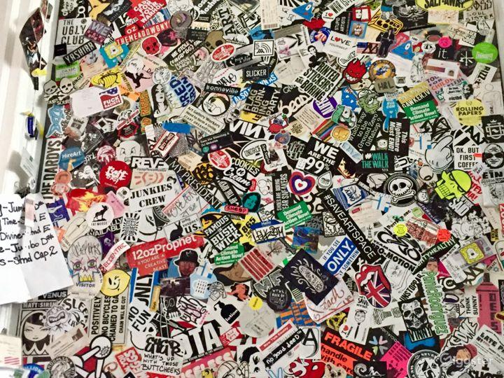 Sticker wall with urban tags. 4'x8'.