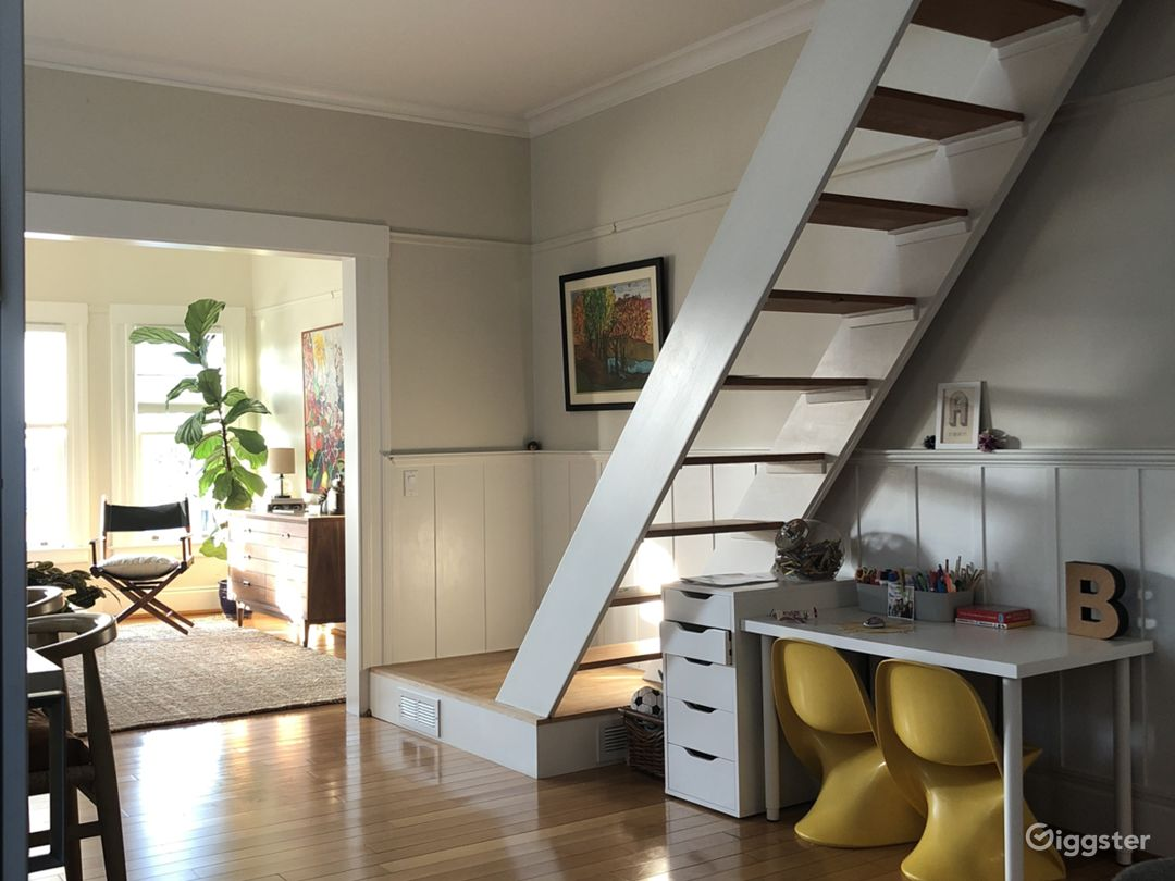 stairs to air conditioned loft style room