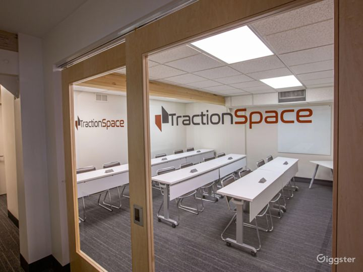Our Classroom Configuration area. Great for those teaching courses, holding large meetings/presentations and more!