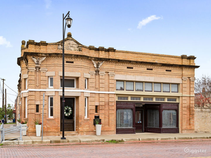 Bartlett National Bank - detailed and ornate features on the exterior include the name of the bank and 7 eagles.