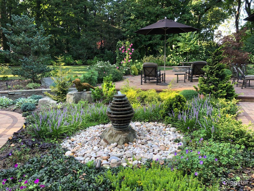 Water feature in zen garden