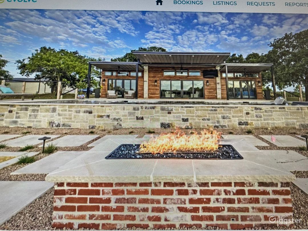 Front View of Home with Fire Pit
