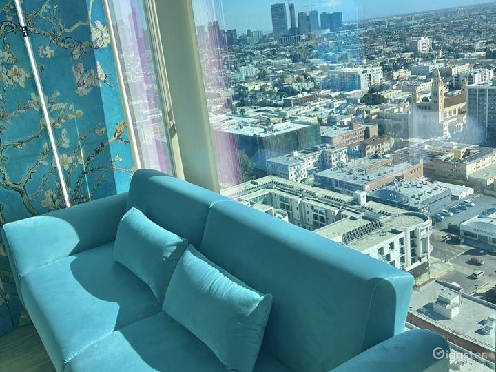 Velvet baby blue convertible sofa