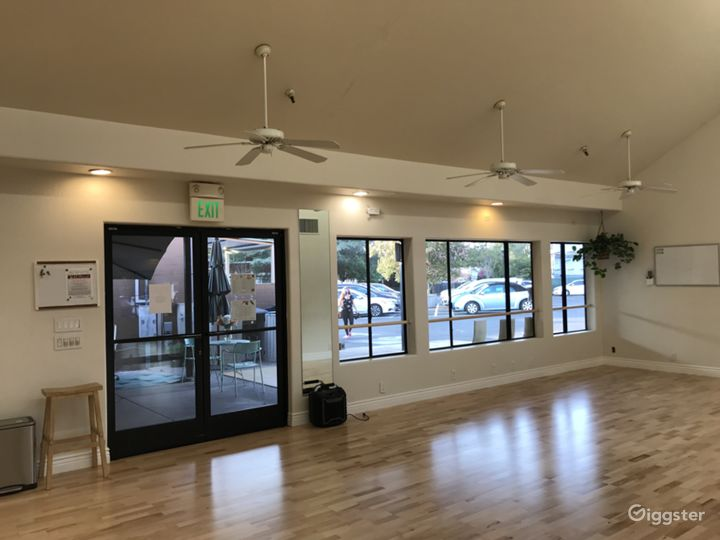 Evening photo-second studio (989 Fremont Ave)  1000 square feet, sprung dance floor, AC and Fans, natural lighting. Great sound system.