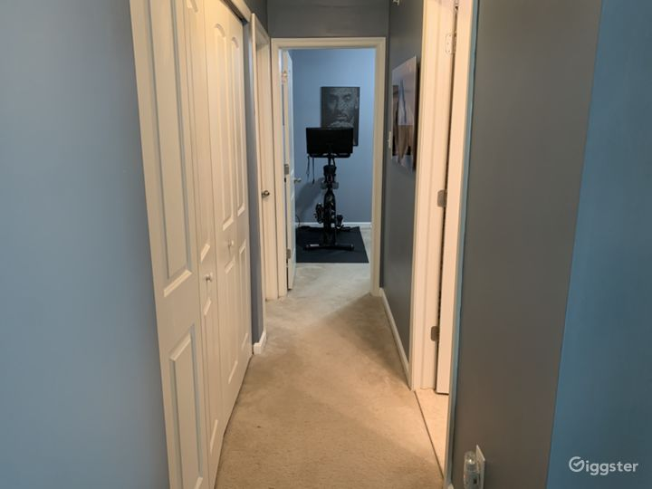 Upstairs hallway with 3 bedrooms and 2 full bathrooms