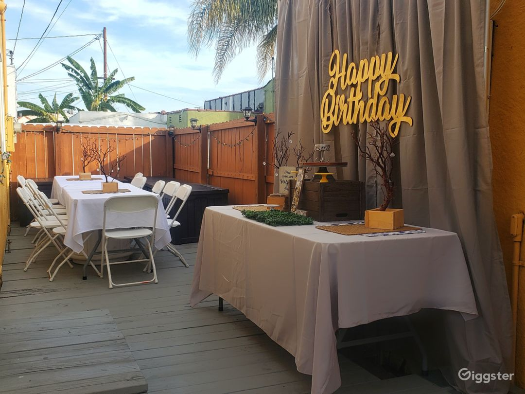 Decorated Outdoor Seating and dessert table area