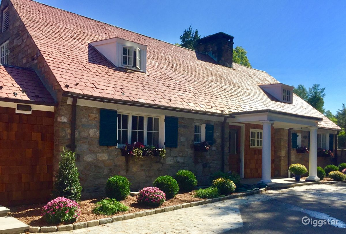 Classic French Inspired Stone Suburban House in Wilton New York Rental