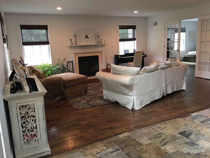Living room. French doors to family room.