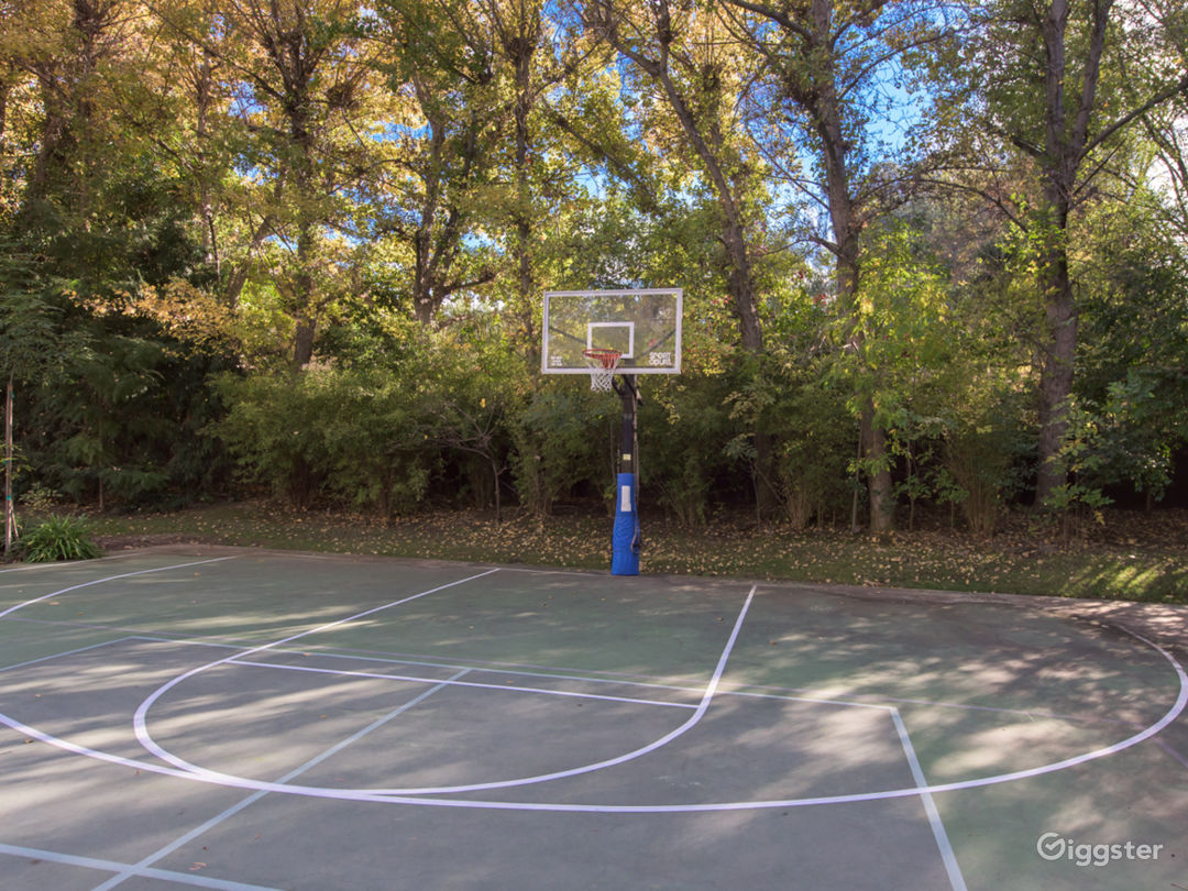 Full Basketball court with Night Lights