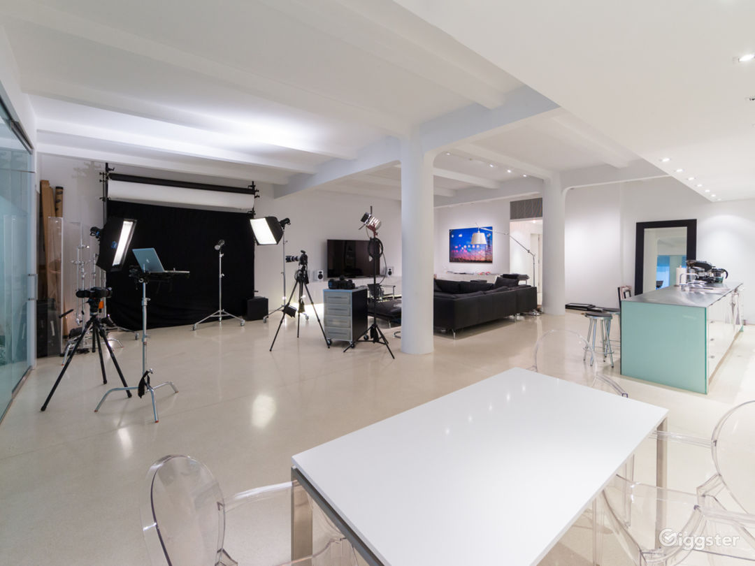 Overview of the main loft space.  Shooting Space, Media Area, Chef's Kitchen and Snack Area.