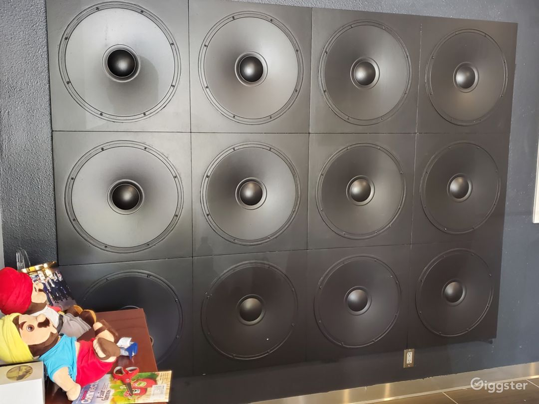 Faux Speaker wall for podcasts, photoshoots