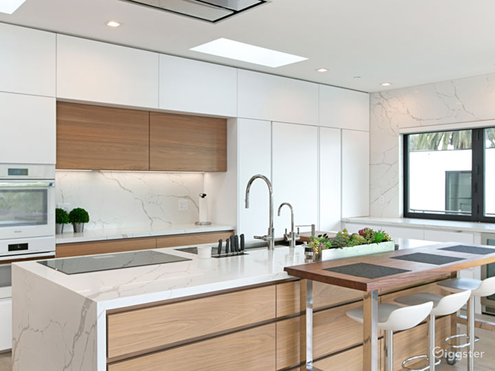 Modern, clean kitchen with sky lights