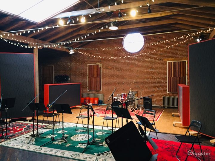Rustic Studio with Natural Wood and Brick for Film Photo 3