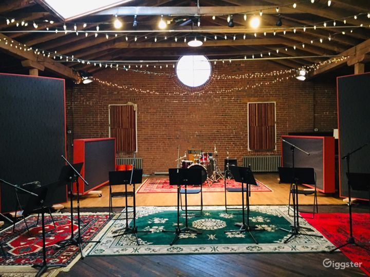 Rustic Studio with Natural Wood and Brick for Film Photo 2