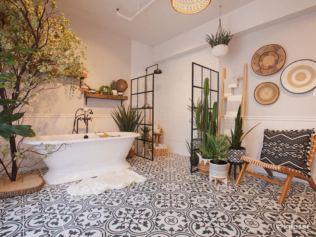 Downtown Farmhouse Bohemian Bathroom with Bathtub Photo 1