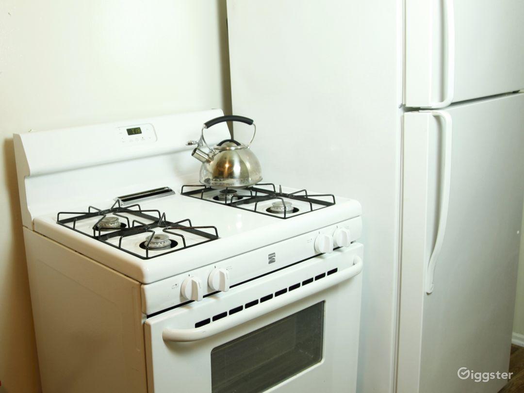 Fridge and stove.