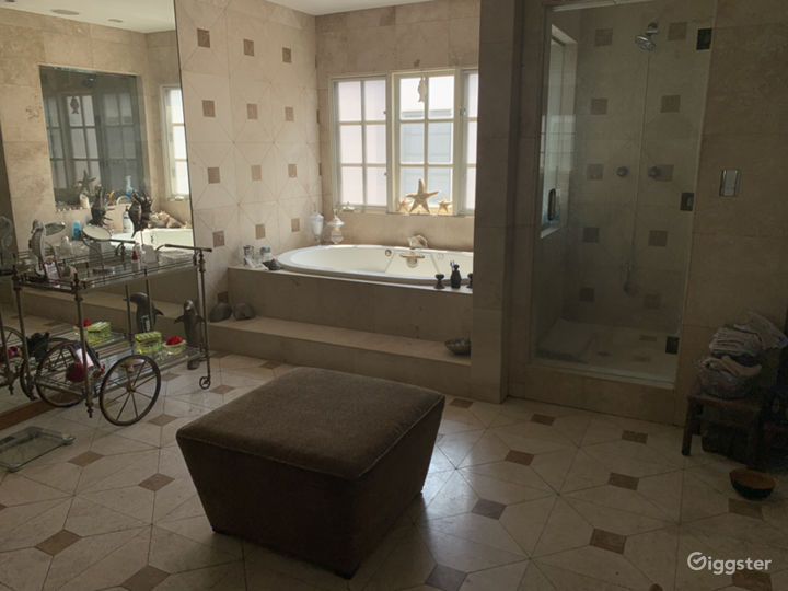 Master bathroom, jacuzzi tub, floor to ceiling mirror, steam shower for two!