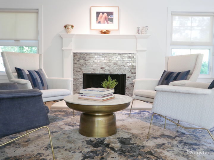 Fireplace sitting area in living room space