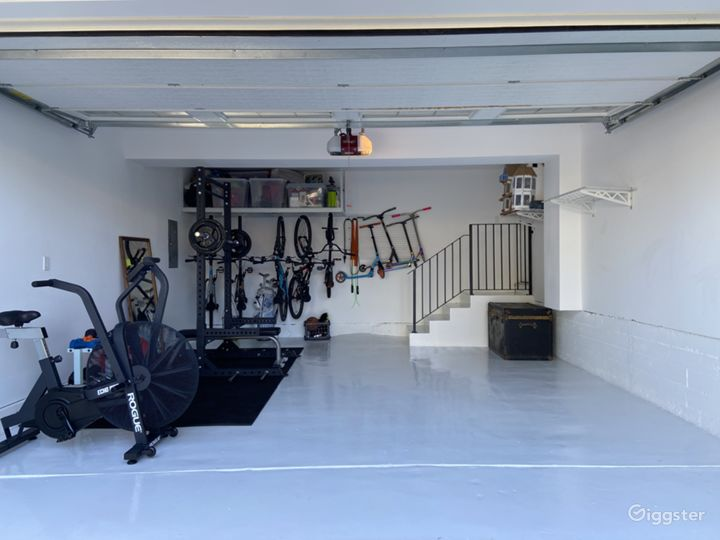 Garage gym - great for loading in equipment or setting up make up