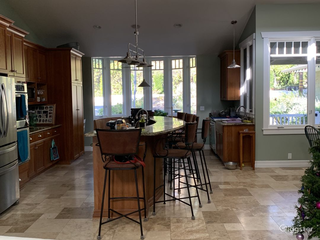 Large kitchen, open to dining, family and living room areas